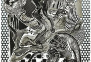 Frank Stella « Riallaro » (black and white), 1994 Screenprint, lithograph, etching, relief, aquatint, collagraph on white TGL handmade paper. 46 × 32 in 116.8 × 81.3 cm Edition 10/20  € prix sur demande